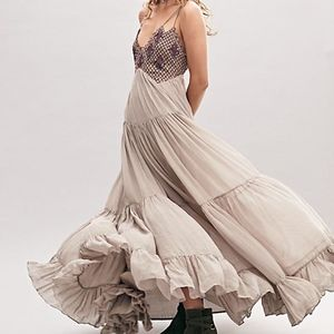 Free People Lost in a Dream Maxi Dress in Silver